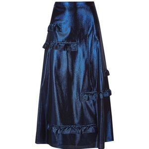 Burberry Skirt With Metallic Sheen in Bright Navy
